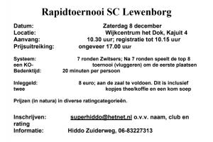 Rapidtoernooi SC Lewenborg 8 december